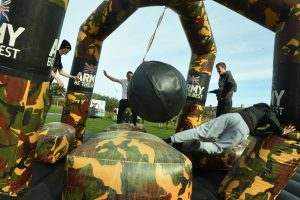 An Army Public Services Surge Day was held at Redcar and Cleveland College to make the students aware of career opportunities within the military. Students try to beat the wrecking ball  03/10/16  Pic Doug Moody Photography